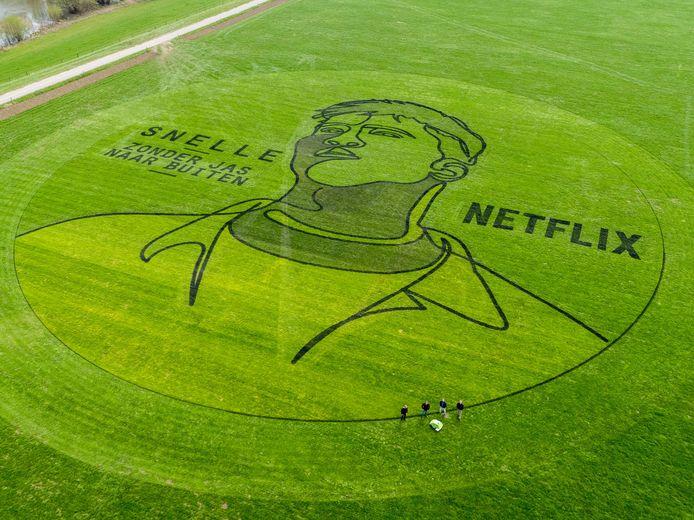 Het portret van Snelle dat in opdracht van Netflix is vervaardigd in een weiland bij Deventer.