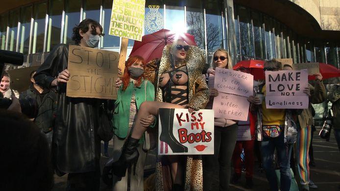 Protest van sekswerkers in Den Haag