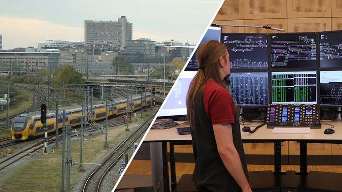 Treinverkeersleiders zoals op de foto in Utrecht zijn hard nodig maar Prorail kampt met hardnekkige gaten in het werkrooster.