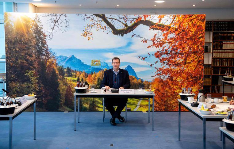 De Beierse deelstaatpremier Markus Söder in november tijdens een kabinetsbijeenkomst. Söder, afkomstig van de Beierse partij CSU, zei zondag dat hij in september bondskanselier wil worden. Zusterpartij CDU had echter al een kandidaat, Armin Laschet. Beeld AFP