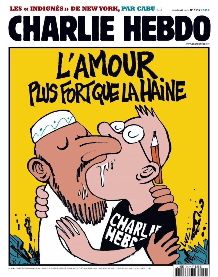 Met dit antwoord kwam Charlie Hebdo op 7 november 2011. Beeld AFP