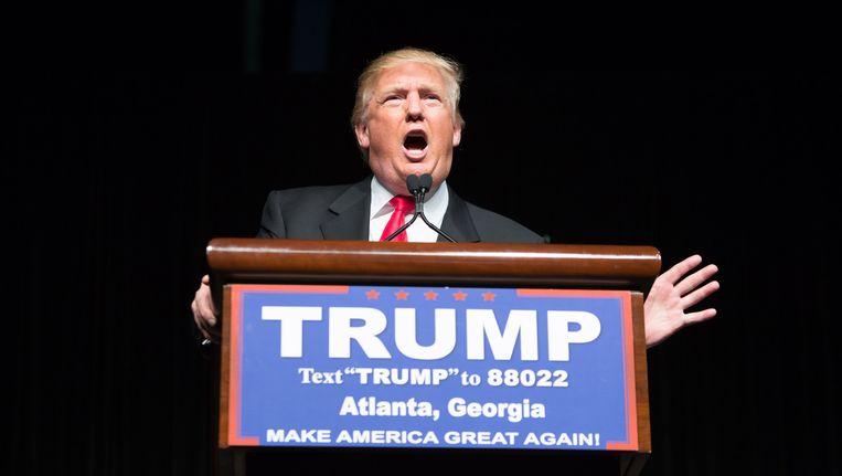 Donald Trump tijdens een rally in Atlanta, Georgia. Beeld getty