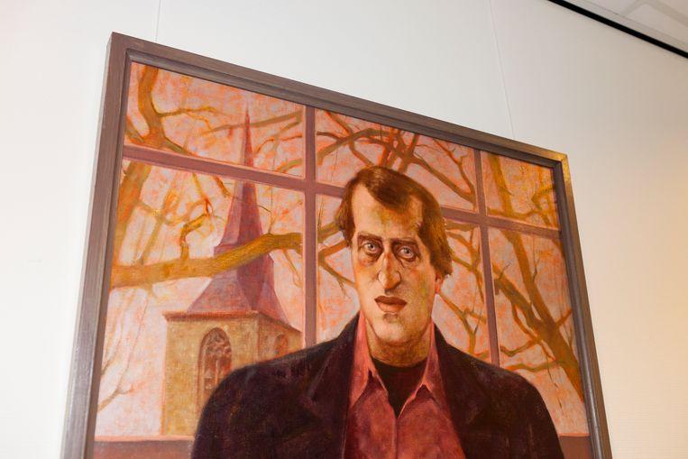 Deel van een schilderij van Gerrit Komrij, gemaakt door Theo Daamen, in het Gerrit Komrij College.  Beeld Renate Beense
