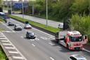Door het incident op de R8 in Bissegem ontstond een kleine file.