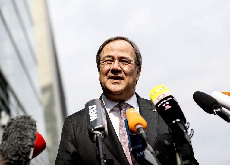 Armin Laschet voor het hoofdkwartier van CDU/CSU in Berlijn. Beeld EPA