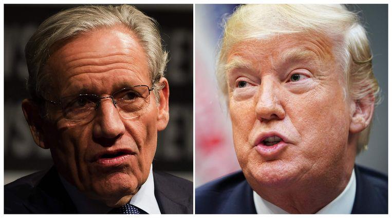 Bob Woodward (L) en president Donald Trump. Beeld AFP