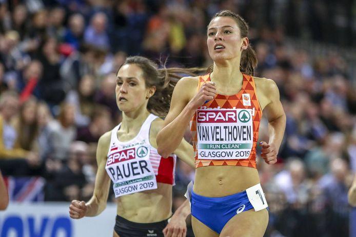 Julia van Velthoven tijdens het EK indoor van vorig jaar.