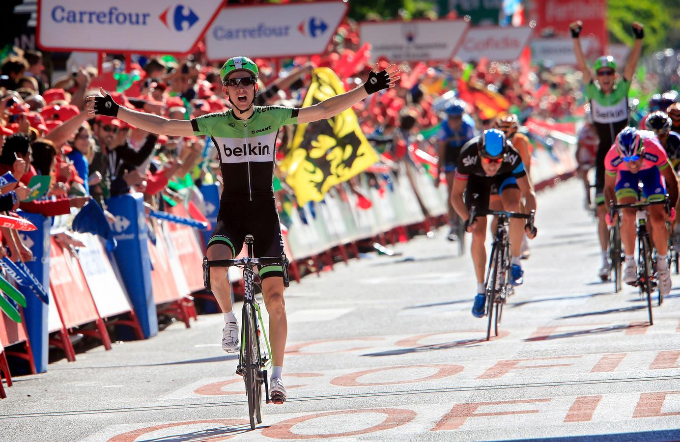 Mollema won de zeventiende etappe van de Vuelta 2013.