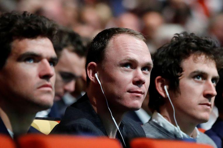 Greg Van Avermaet, Chris Froome en Geraint Thomas. Beeld REUTERS
