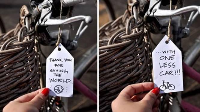 Kunstenares bedankt fietsers op originele manier