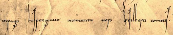 In dit document staat de eerste geschiedkundige schriftelijke vermelding van het graafschap Loon en zijn graaf Giselbert. Het fragment handelt over de goederenruil tussen de abdijen van Burtscheid en Seligenstadt en graaf Giselbert van Loon.