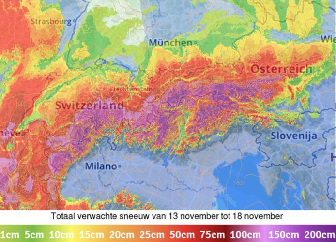 Sneeuwverwachting in de Alpen: aan de zuidkant kan er meer dan 1 meter verse sneeuw vallen.