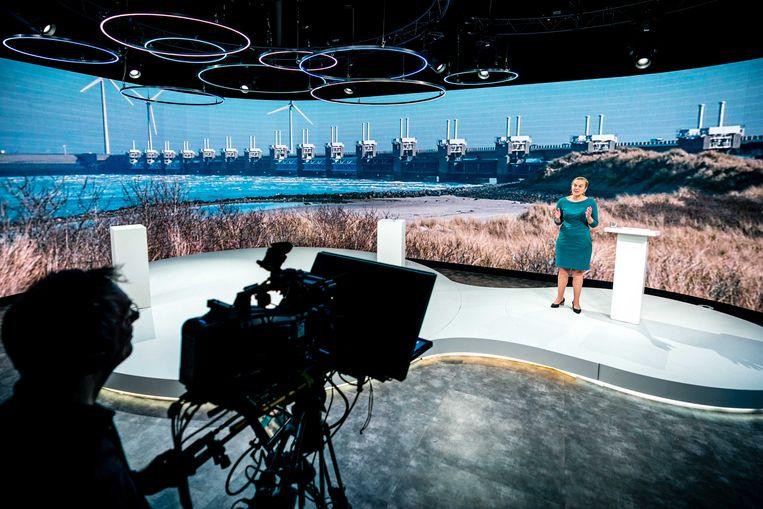 Lijsttrekker Sigrid Kaag van D66 tijdens de aftrap van de verkiezingscampagne.  Beeld ANP