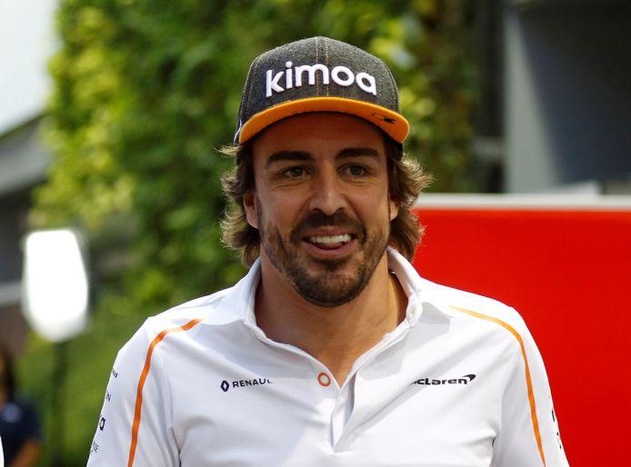 Alonso nog in het shirt van McLaren. Volgend jaar rijdt hij voor Alpine Renault.