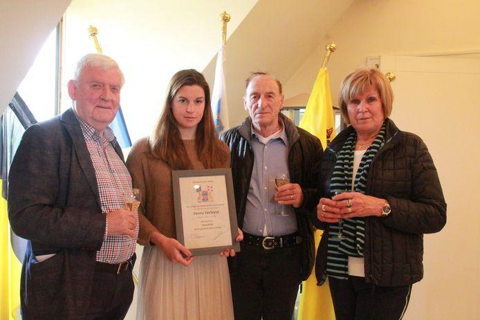 Burgemeester Dirk Walraet, Fanny Lecluyse, papa Christian Lecluyse en mama Lauren Douterlugne