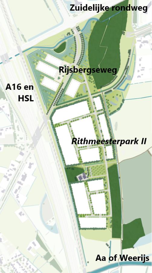Het voorlopig ontwerp voor het bedrijventerrein Rithmeesterpark II in het zuidwesten van Breda.