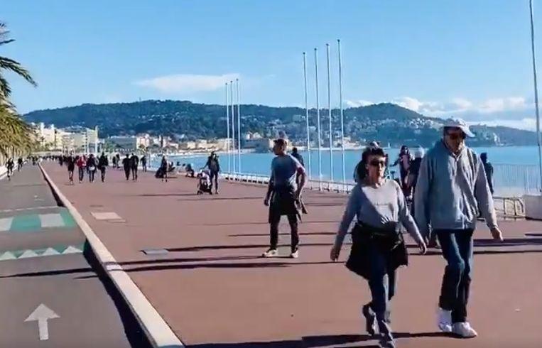 Het leek gisteren wel lente in Nice. Beeld Twitter.
