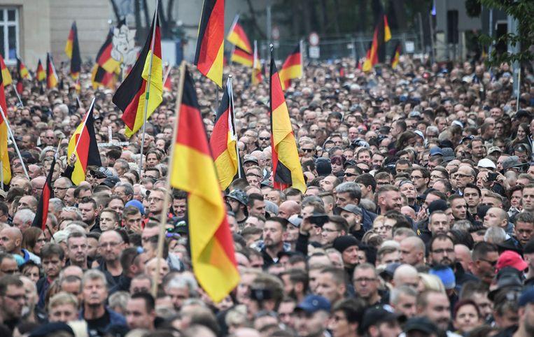 Betoging in Chemnitz.   Beeld Ralf Hirschberger/dpa-Zentralbil