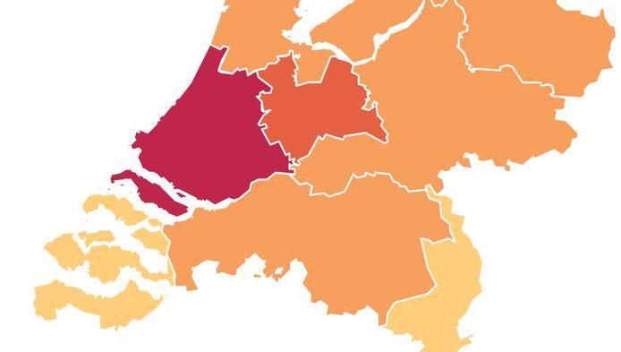 Zie op de kaart hieronder hoeveel besmettingen er afgelopen week in elke provincie waren.