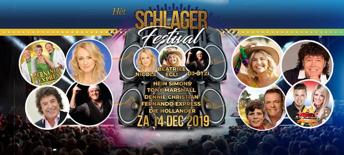 Een aankondiging van het afgelaste Schlagerfestival in het Beursgebouw.