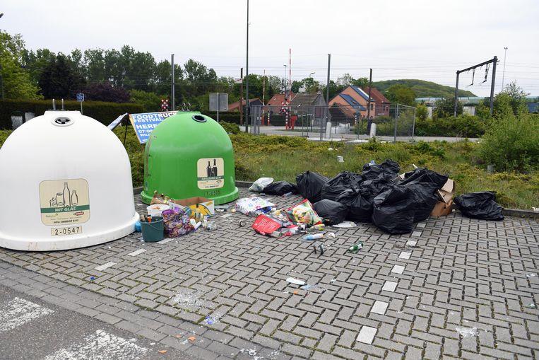 Illustratie: De glasbollen aan de Pleinstraat in Holsbeek zijn wel vaker een stort.