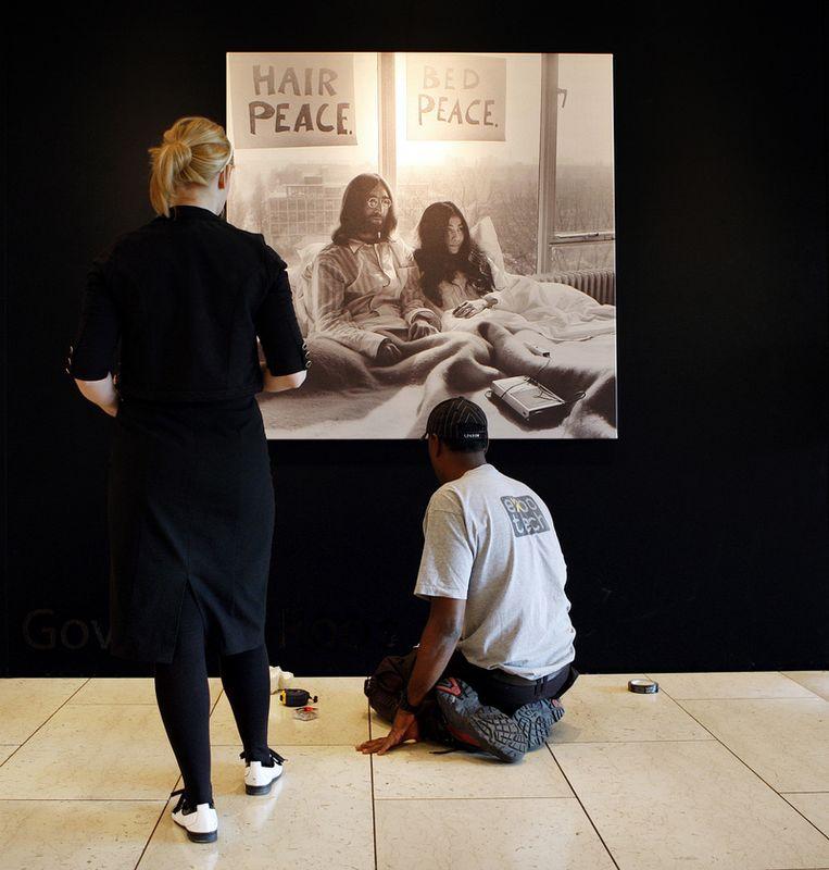 Govert de Roos fotografeerde onder ander John Lennon en Yoko Ono in het Hilton Hotel. Foto ANP Beeld