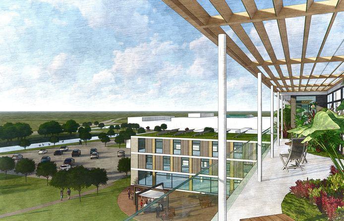 Bovenin het oude Röpcke-Zweers Ziekenhuis zou een hippe 'rooftop-bar' ingericht kunnen worden.