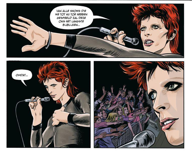 David Bowie in de stripbio 'Stardust, Rayguns & Moonage Daydreams'. Beeld RV