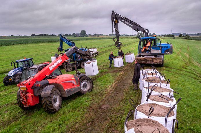 In de uiterwaarden bij Dodewaard zijn bigbags met zand geplaatst om de gewassen te beschermen tegen hoog water.