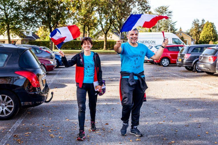 Fans van het Franse team in Gorredijk.  Beeld Raymond Rutting / de Volkskrant
