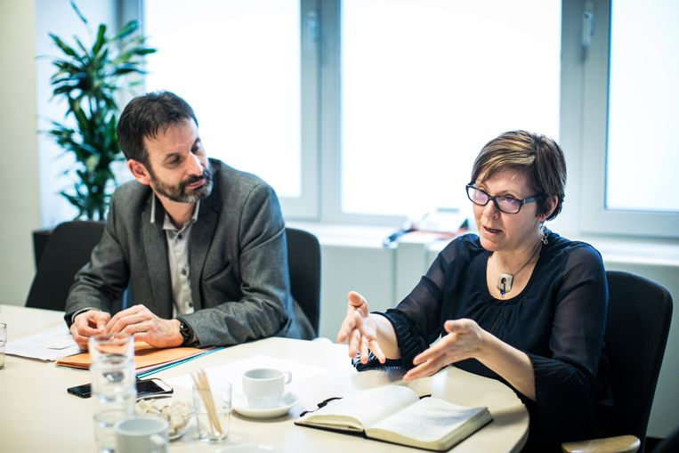 Els Keytsman en Patrick Charlier, directeurs van Unia. Beeld Bas Bogaerts