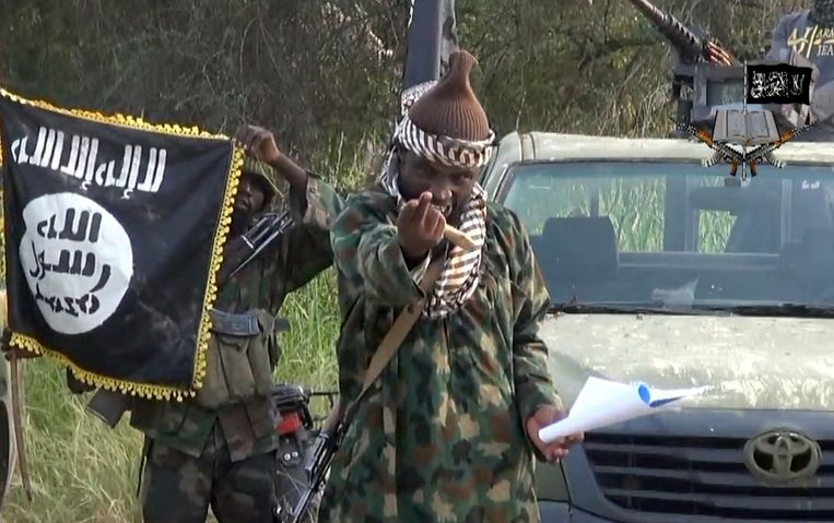 Een screenshot van een video van Abubakar Shekau, de leider van Boko Haram in 2018. Shekau zou inmiddels dood zijn.  Beeld AFP