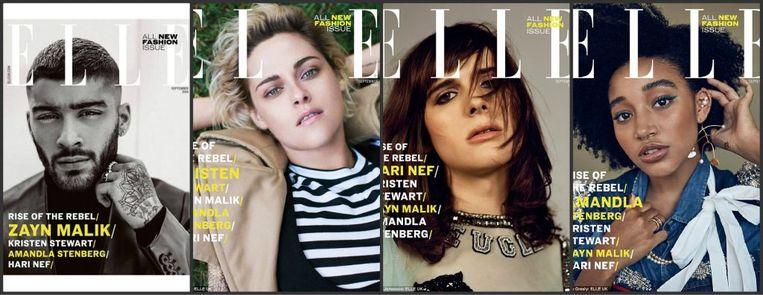 De Elle-covers: Nef prijkt op de tweede van rechts Beeld Elle