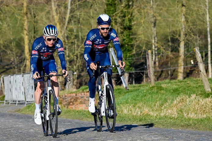 Laurens De Vreese (rechts) van Alpecin-Fenix. Over de deelname van Mathieu van der Poel is nog geen beslissing.