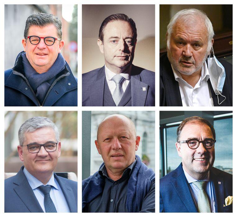 Burgemeesters Bart Tommelein, Bart De Wever, Jean-Marie Dedecker, Steven Vandeput, Hans Bonte en Christophe D'Haese. Beeld .