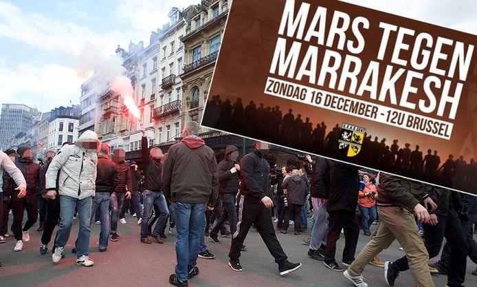 Ook de harde kernen van verschillende Belgische voetbalclubs engageren zich om deel te nemen aan de mars. Twee jaar geleden kwamen ze ook al op straat na de aanslagen in Brussel. (archiefbeeld)