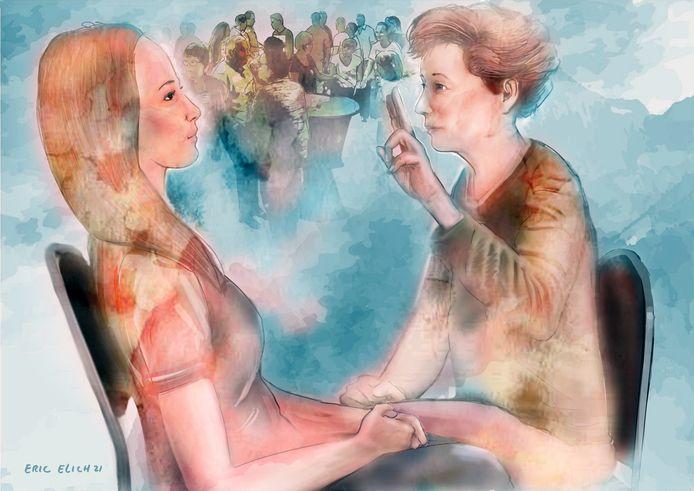 Linda kreeg een paniekaanval tijdens een verjaardag. Sindsdien werd ze al onrustig bij de gedachte aan een drukke ruimte. Daarvoor kreeg ze EMDR. Tijdens de therapie moest ze aan de nare herinnering denken en tegelijkertijd de vingers van de therapeut volgen. Daardoor verloor de herinnering de emotionele lading en spanning.
