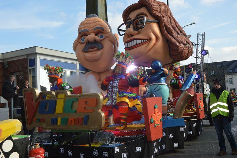 ▶Het 'burgemeestersduel' tussen Guy D'haeseleer (Forza) en Tania De Jonge (Open Vld) is in carnavalsstad Ninove al langer een thema. Beeld Claudia Van den Houte