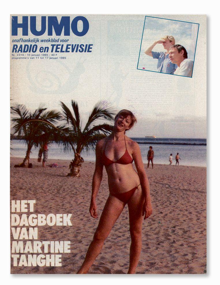 De Humo-cover van 10 januari 1985: 'Ze loopt nu gillend om haar kleren, telkens als ik een foto wil maken.' Beeld Humo