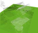 Van huizen in Nederland zijn databanken beschikbaar voor onder andere gemeenten en bedrijven. Op dit beeld is de onbewerkte data te zien: huizen en bomen in puntjes. The Sustainables koppelt daar via rekenmodellen (algoritmes) andere data aan vast, zodat inzichtelijk wordt hoe een huis kan worden verduurzaamd.