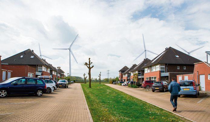 Windturbines langs de A15 aan de zuidwestkant van Zetten, zoals het kritische Bewonersplatform ze heeft ingetekend.