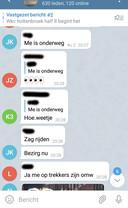 Screenshots uit een Telegram-groep waarin plannen worden gesmeed voor avondklokrellen in Zwolle.