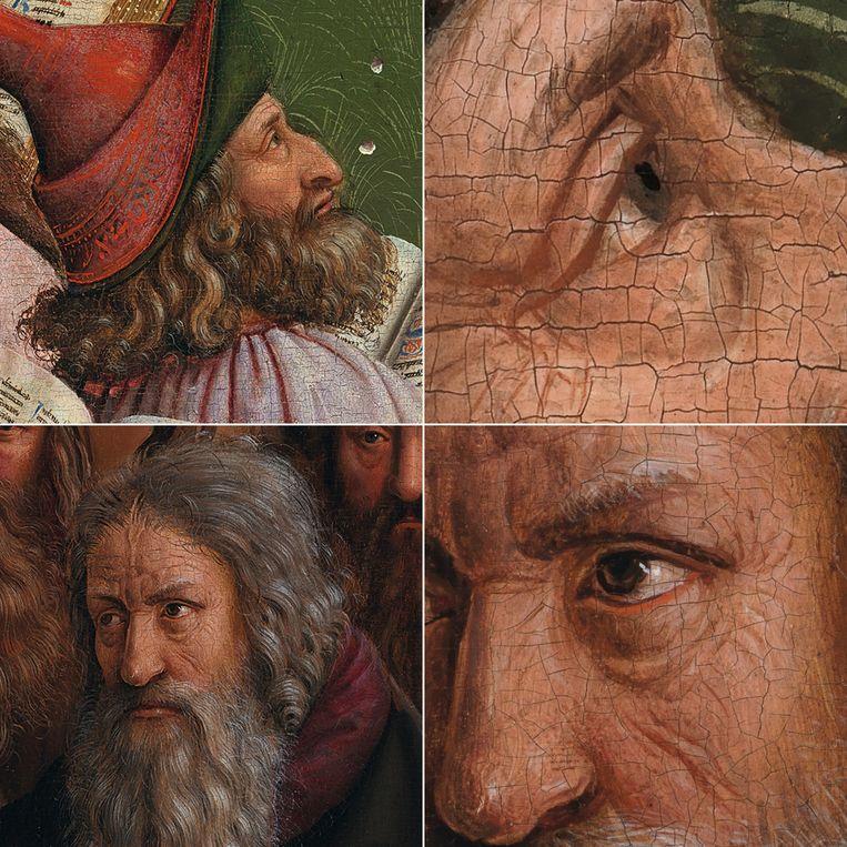Het Lam Gods. Boven: hoofd toegeschreven aan Hubert van Eyck, met close-up van het oog. Onder: hoofd toegeschreven aan Jan van Eyck, close-up van het oog. Beeld KIK-IRPA