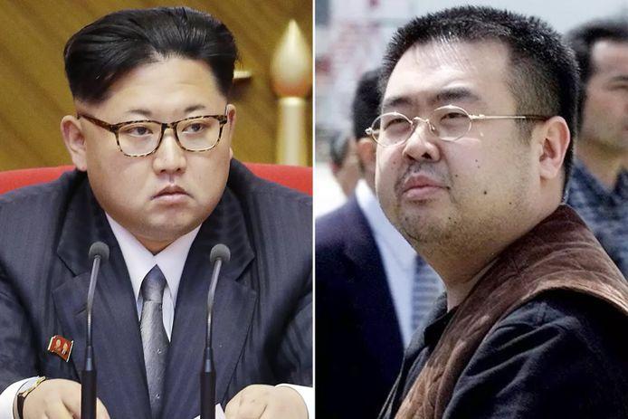 Kim Jong-nam (rechts), de halfbroer van de Noord-Koreaanse leider Kim Jong-un (links) raakte in 2017 dodelijk vergiftigd op de luchthaven van de Maleisische hoofdstad Kuala Lumpur.