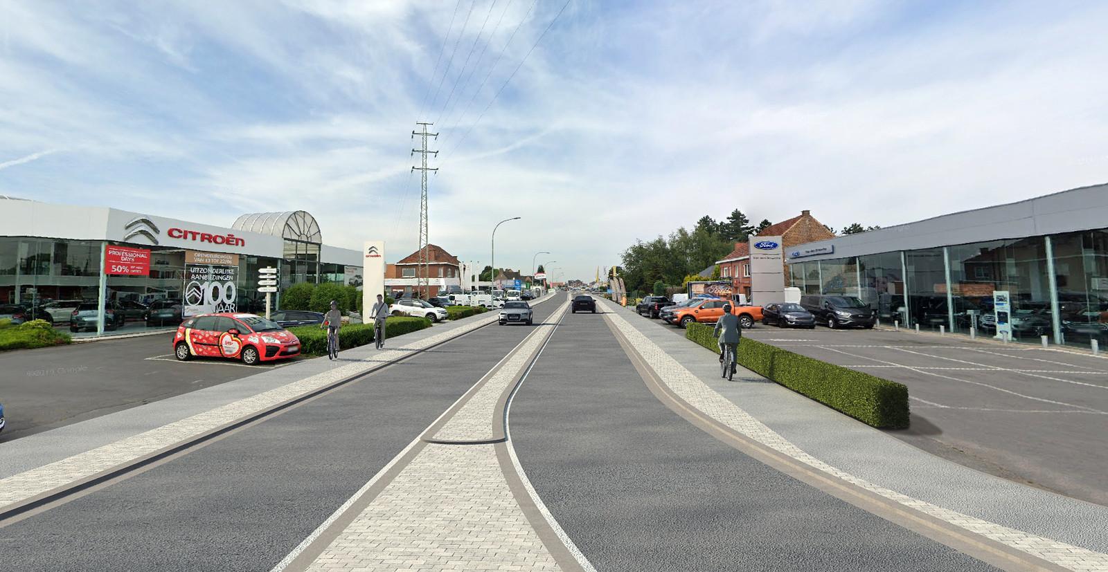 Een beeld van de Brakelsesteenweg na de herinrichting, met nieuw wegdek in asfalt, veiligere fietspaden, een middenberm, twee keerpunten en een keerlus.