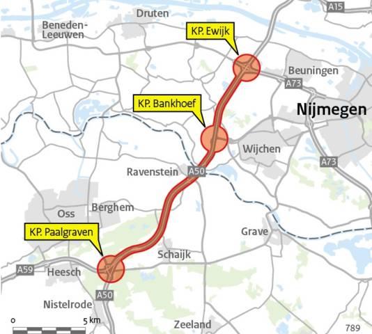 Het A50-traject tussen Oss en Ewijk.