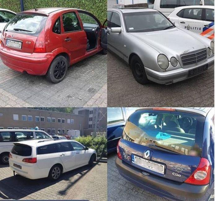 Selectie spookauto's die de politie heeft ingenomen.