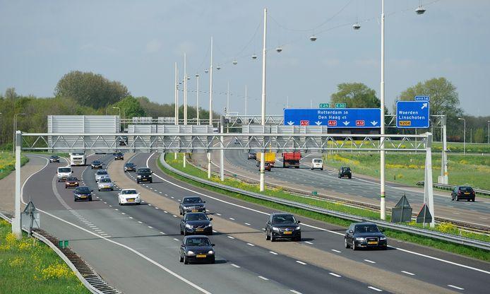 De A12 bij Woerden.