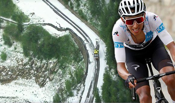 Sneeuw in de afdaling van de Col de l'Iseran, Egan Bernal wordt nieuwe leider.