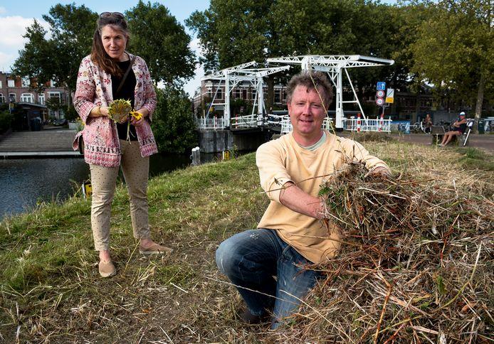 Utrecht - Omwonenden Maurice Jurgen en Lies König op het taluds langs Leidseweg.  en omgeving ingezaaid met planten om de biodiversiteit te verhogen. Rijkswaterstaat heeft alles weggemaaid.
